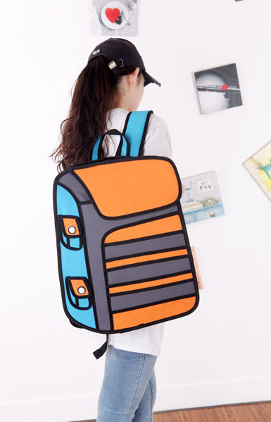 Back Orange Stripe Bag