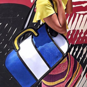 blue white stripe shoulder bag