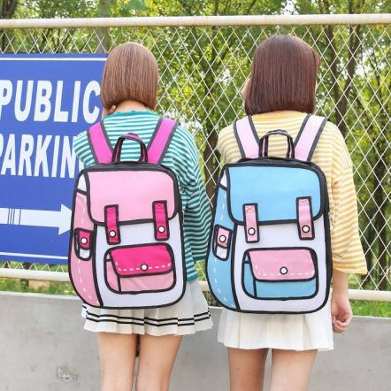 Small 2D Backpack Pink Blue