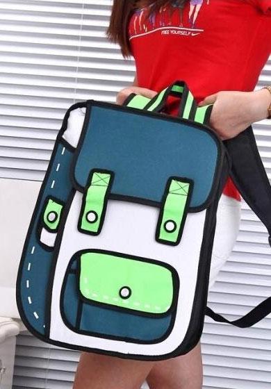 green cartoon backpack mini